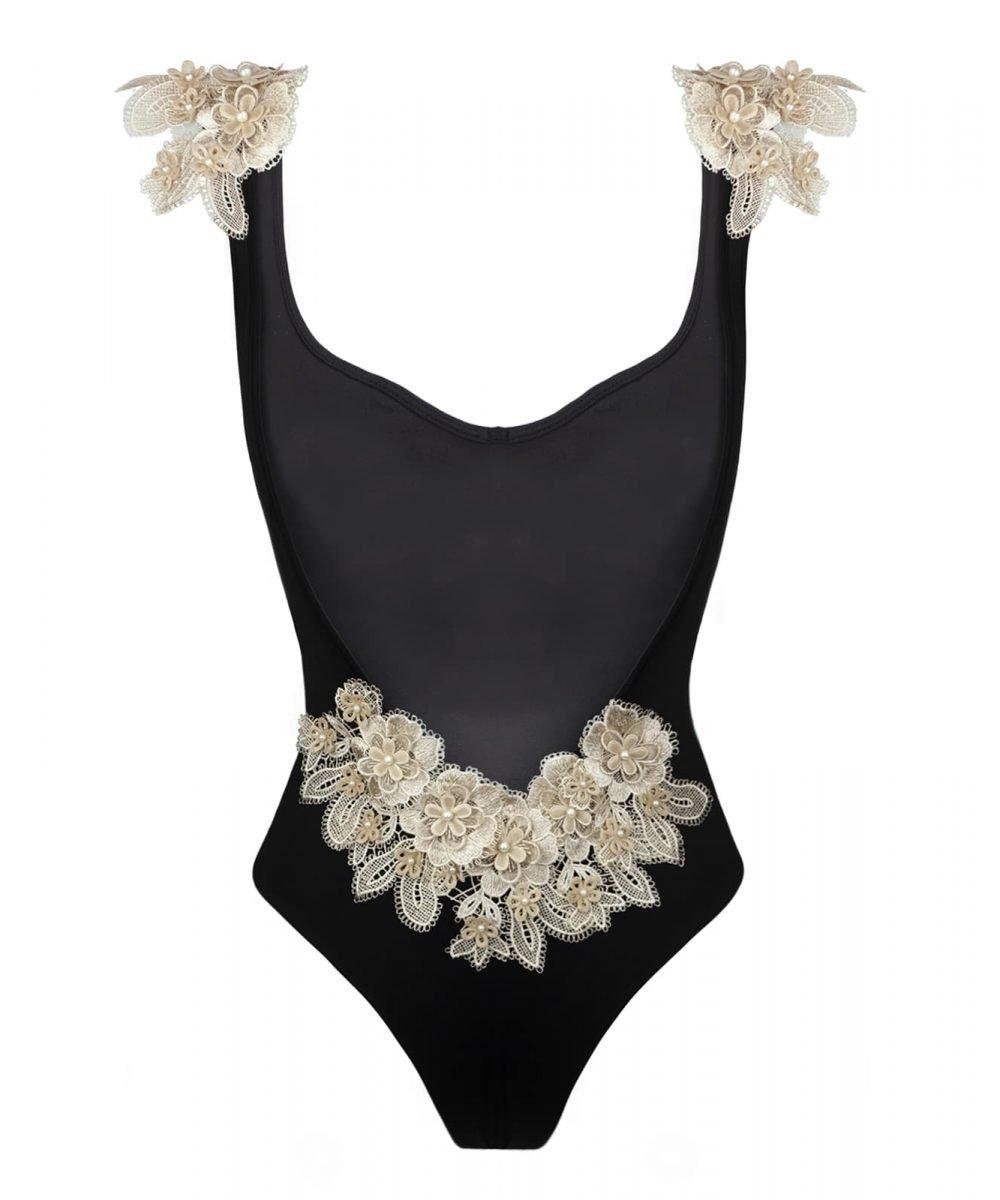 Kinda 3D Swimwear Reina Reìna black lace swimsuit bikini with lace costume con pizzo decorazioni in pizzo estate 2019 summer 2019 embellished bikini italian beachwear made in italy