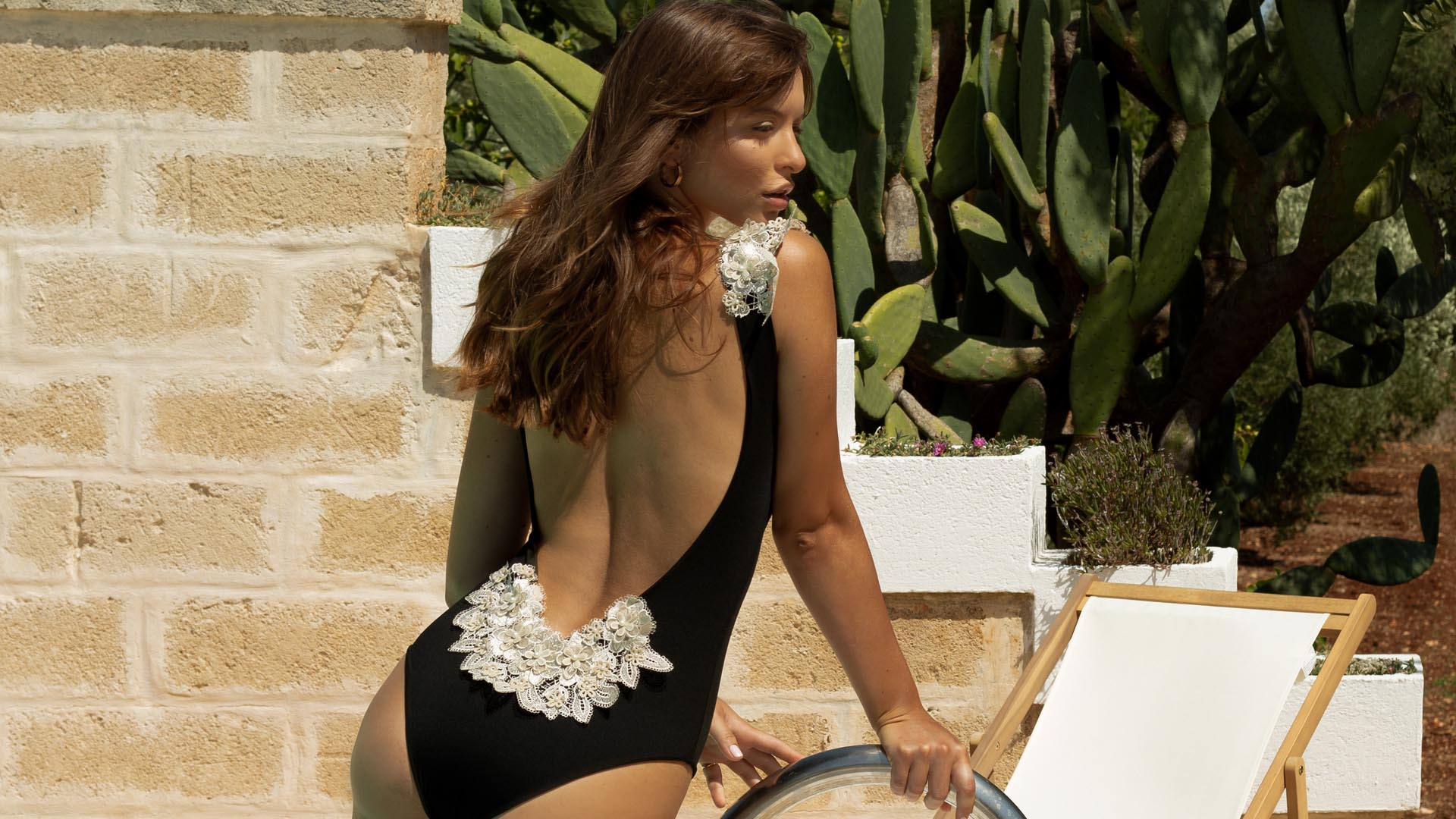 Reina one piece swimsuit with 3D lace