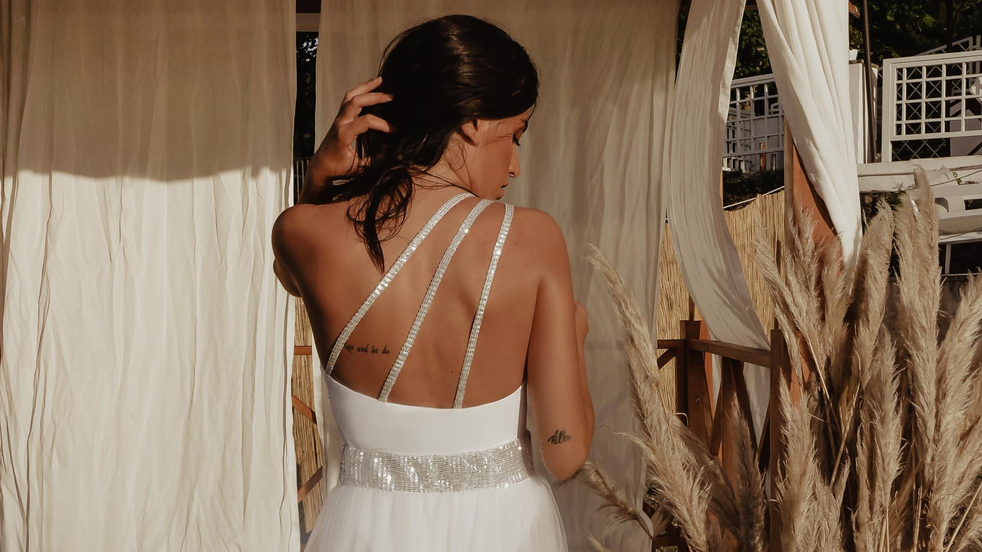 Étoile costume monospalla bianco
