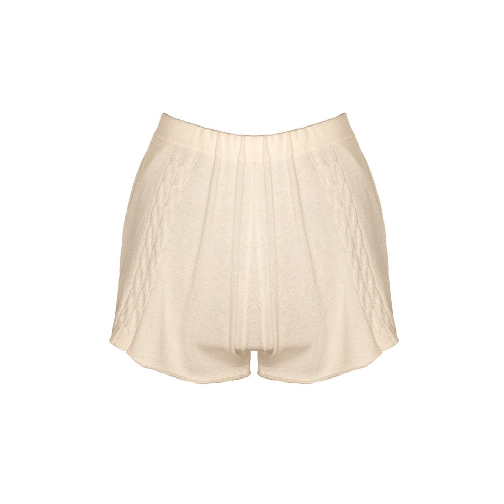Kinda knitted cashmere shorts almond_back