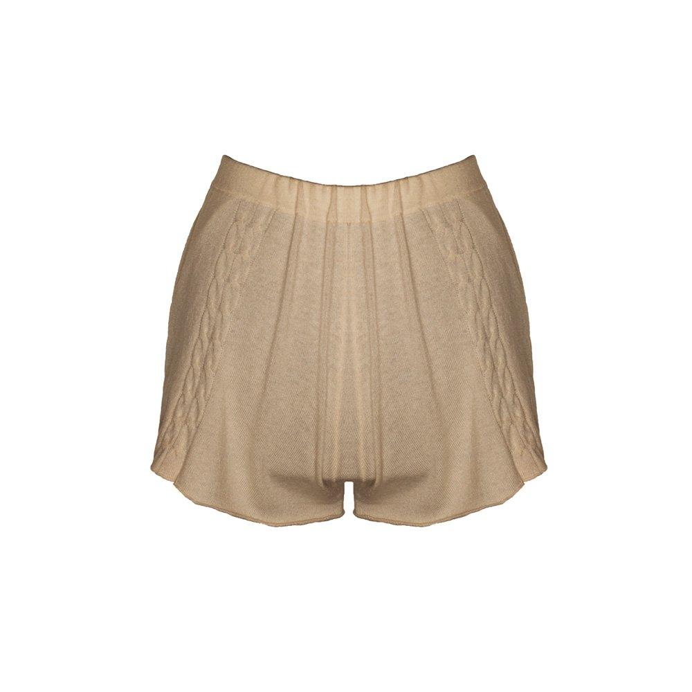 Kinda knitted cashmere shorts sand_back