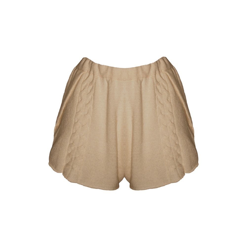 Kinda knitted cashmere shorts sand_front