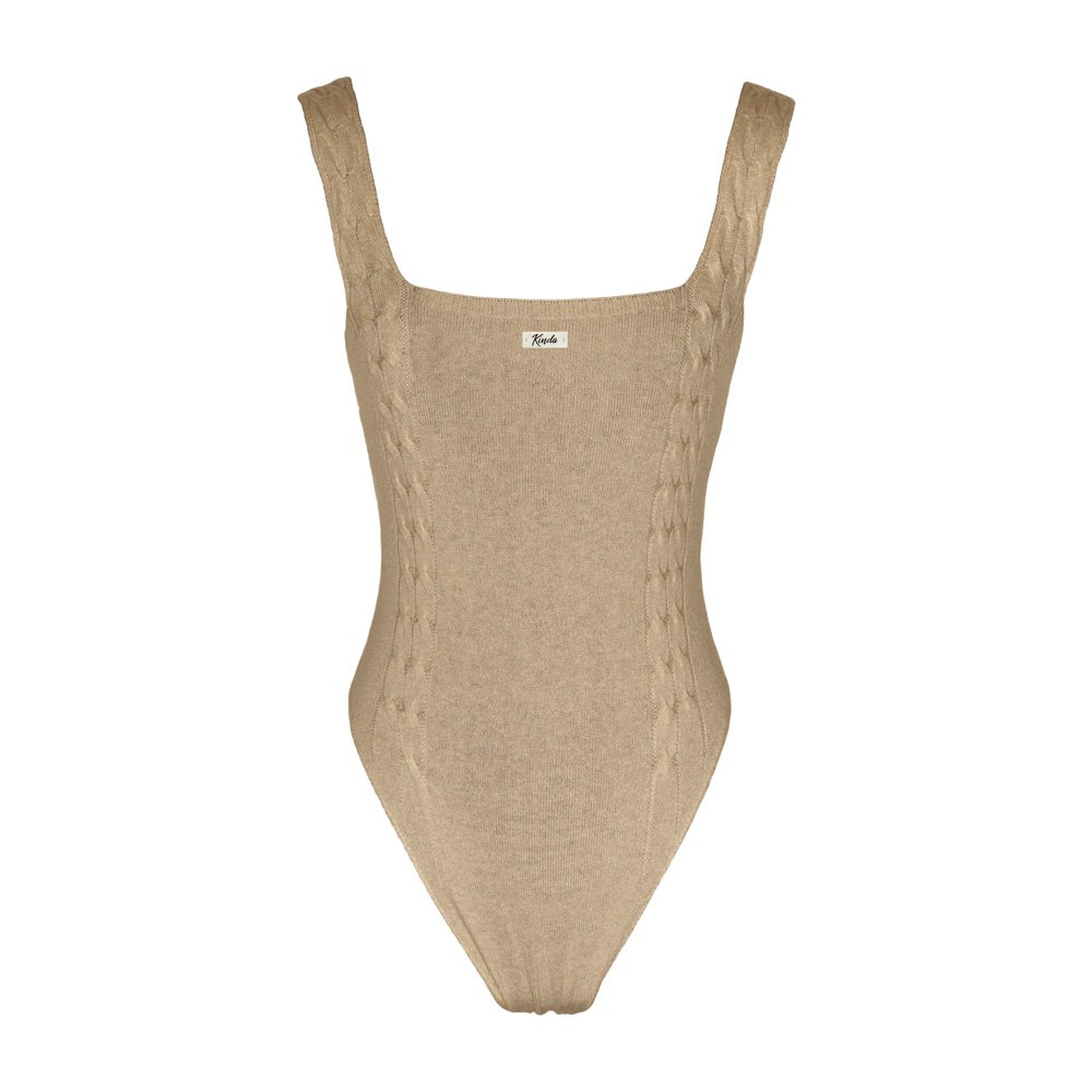Sand knitted bodysuit loungewear kinda_back