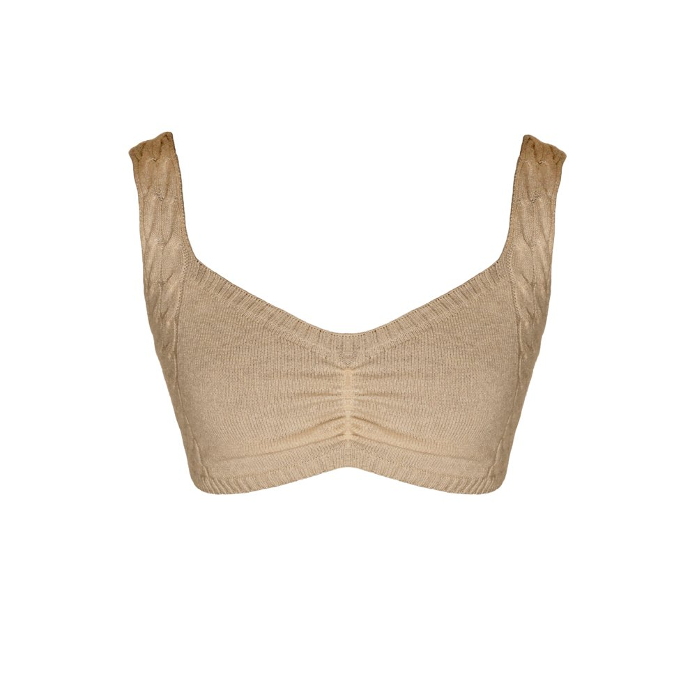 Sand knitted bralette loungewear kinda_front