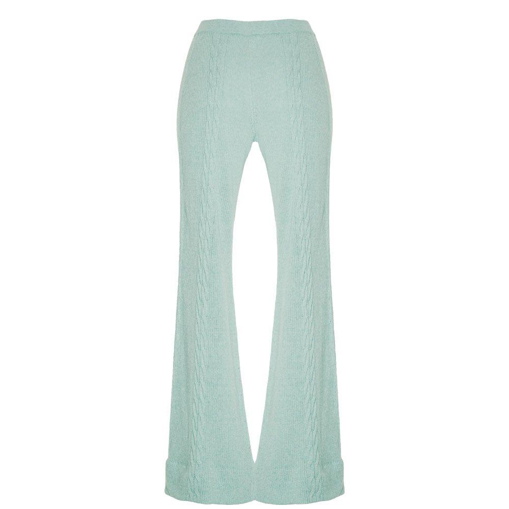 kinda wide leg lounge trousers knitted loungewear wide leg pants mint_back