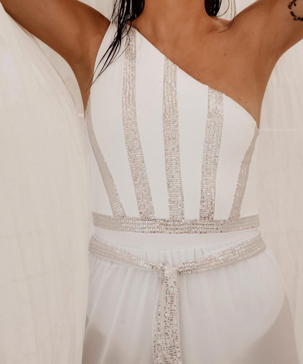 Encore sequin white bride shorts