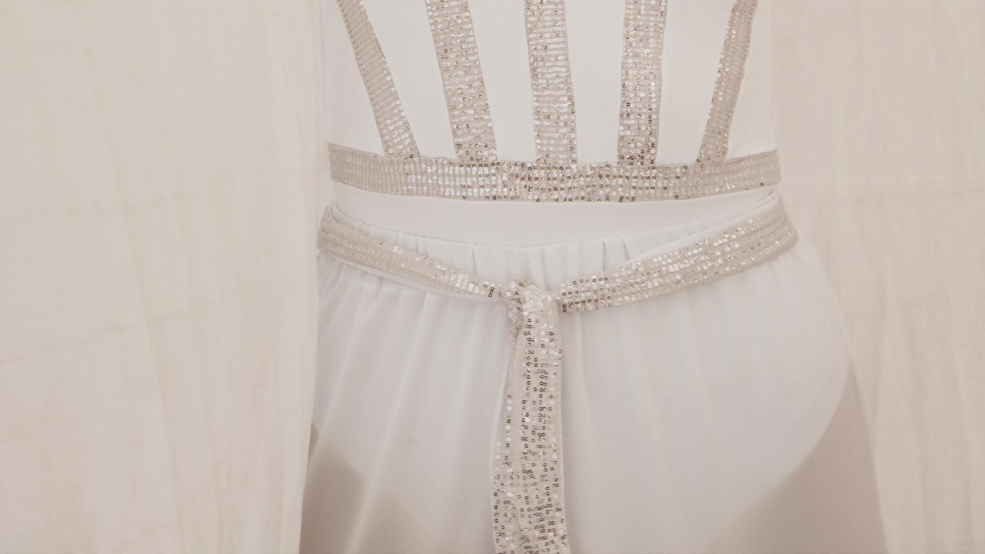 Encore long white sequin trousers