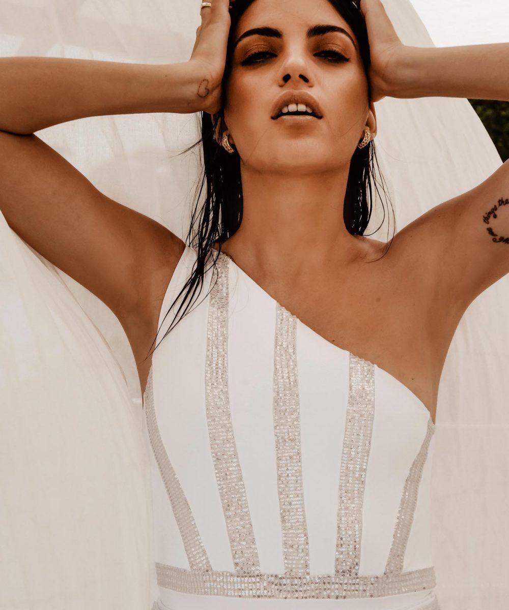 Poison sequin embellished swimsuit bride