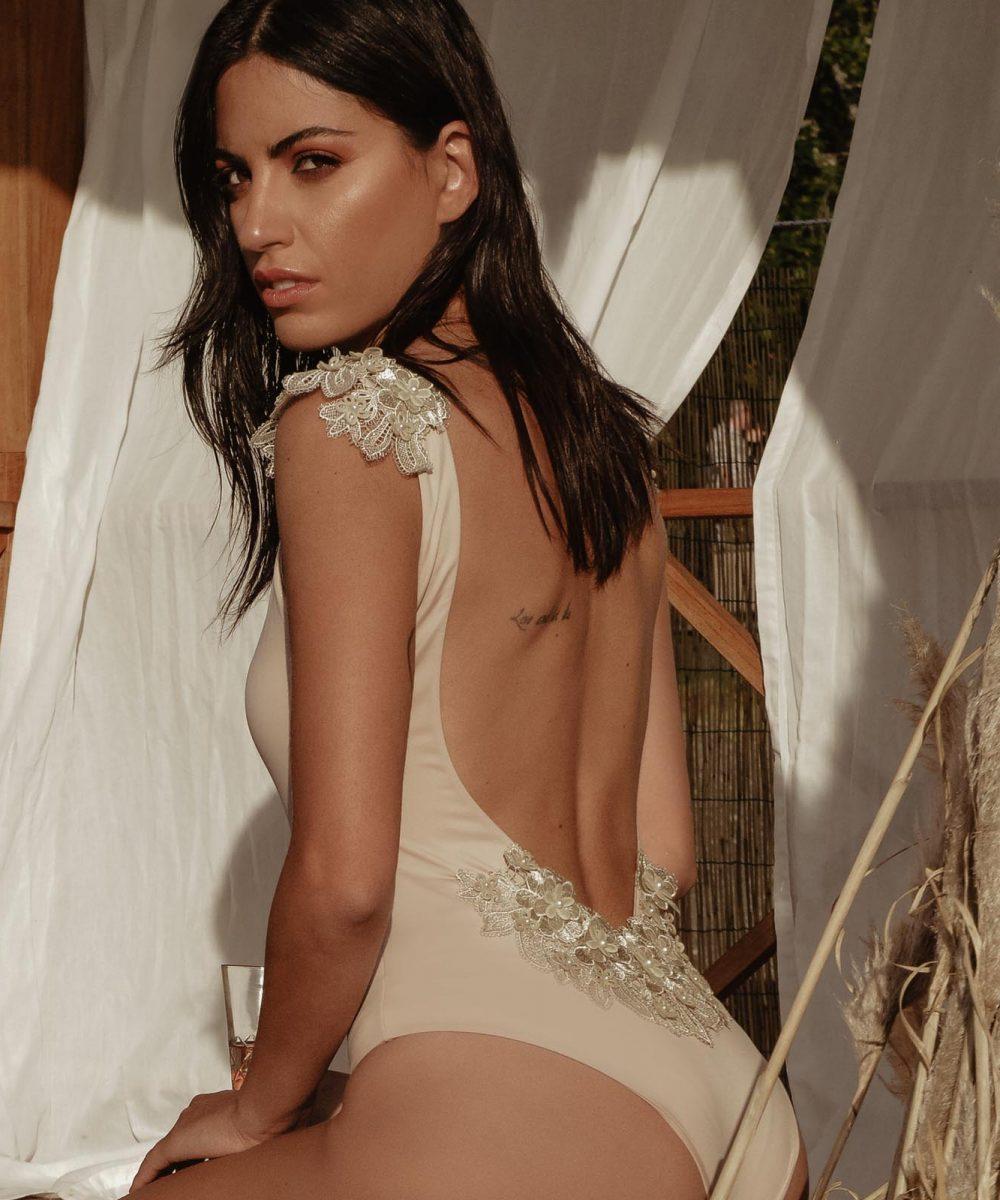 Reìna Almond one piece swimsuit with 3D lace kinda swimwear
